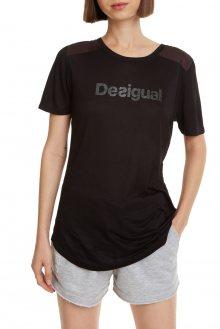 Desigual černé sportovní tričko Essentials Tee s logem - S