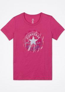 Converse růžové tričko Ombre Chuck Patch s logem  - XS