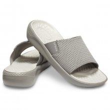 Crocs šedé pánské pantofle LiteRide Mesh Slide Smoke/Pearl White - 39/40
