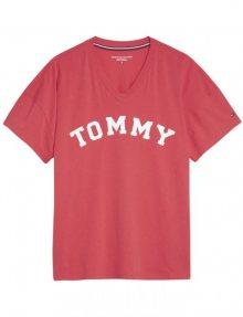 Tommy Hilfiger červené oversize tričko VN Tee SS Print s logem - XS