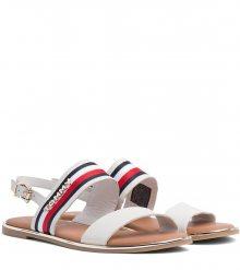 Tommy Hilfiger smetanové kožené sandály Flat Sandal Corporate Ribbon Whisper White - 36
