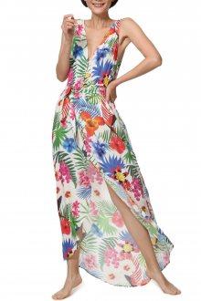 Desigual barevné maxi šaty Vest Patrice s barevnými motivy - M