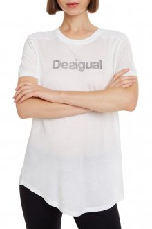 Desigual bílé sportovní tričko Essentials Tee s logem - S
