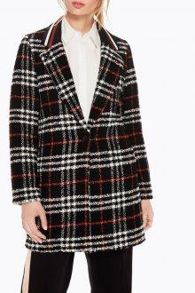 Scotch&Soda černý kabát s kostkovaným vzorem - S