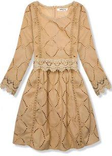 Světlo hnědé šaty s krajkou a výšivkou