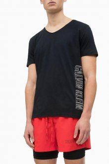 Calvin Klein černé pánské tričko Rounded V Neck Tee Black - S