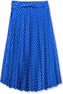 Kobaltově modrá skládaná midi sukně