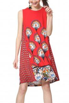 Desigual červené šaty Vest Vento s barevnými motivy - XS