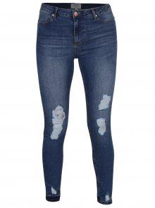 Tmavě modré super skinny džíny s potrhaným efektem Miss Selfridge