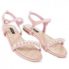 Ploché růžové sandály s korálky