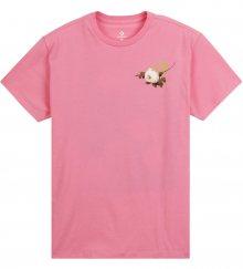 Converse růžové tričko Floral Basketball s květinovým potiskem  - XS