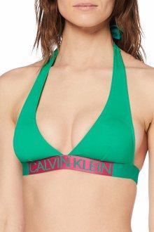Calvin Klein zelený horní díl plavek Plunge Triangle-RP Golf Green - XS