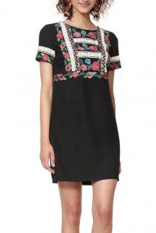 Desigual černé šaty Vest Tralee s výšivkami - 38