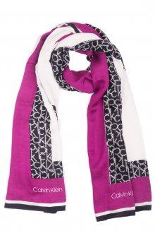 Calvin Klein barevný šátek Geo Quilt Scarf Magenta