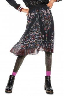 Desigual černá sukně Frida s barevnými motivy - 36
