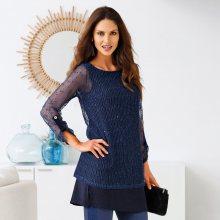 Blancheporte Originální pulovr s efektem 2 v 1 modrá 42/44