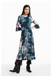 Desigual zelené šaty Kiruna s barevnými motivy  - L