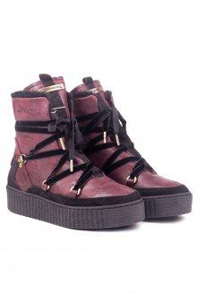 Tommy Hilfiger vínové kožené boty Cozy Warmlined Leath - 36