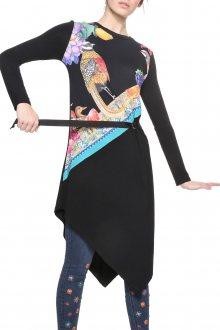 Desigual černé šaty Gynebra s barevnými motivy - S