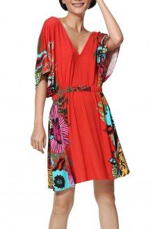 Desigual červené šaty Vest Valeria s barevnými motivy - S