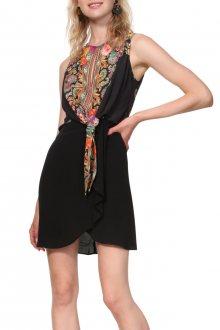 7c9ea28e55d2 Desigual černé šaty Vest Vilma s barevnými motivy - 36