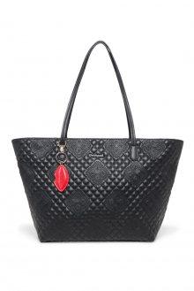 Desigual černá kabelka Bols Claudia Capri Zipper s výšivkami
