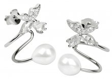 JwL Luxury Pearls Stříbrné záušnice s pravou bílou perlou a krystalovou kytičkou JL0332