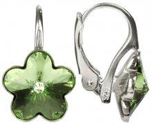 Troli Dívčí stříbrné náušnice Flower Peridot