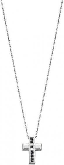 Morellato Pánský ocelový náhrdelník s křížem a krystaly Motown SALS05