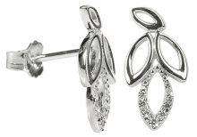 Silver Cat Stříbrné náušnice lístečky s krystaly SC150