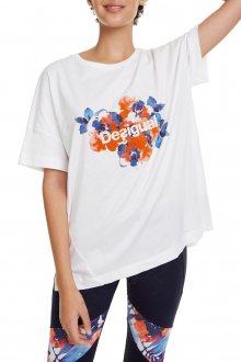 Desigual bílé sportovní tričko T-shirt Camo Flower s barevnými motivy - M