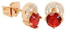 Troli Pozlacené třpytivé náušnice s červenými krystaly