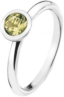 Hot Diamonds Stříbrný prsten Emozioni Scintilla Peridot Nature ER019 52 mm