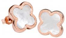 Troli Růžově pozlacené ocelové náušnice kytičky s perleťovým středem KE-006
