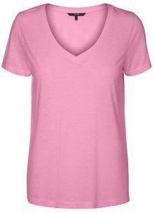 Vero Moda Dámské triko Spicy V-neck Ss Top Color Prism Pink XS