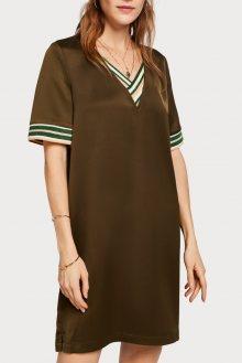 Scotch & Soda khaki šaty s pruhovanými detaily  - XS