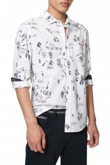 Desigual bílá pánská košile Cam Ehud - M