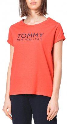 Tommy Hilfiger červené oversize tričko SN TEE SS - XS