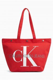 Calvin Klein červená taška Bottom Tote Monogram Tomato
