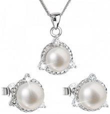 Evolution Group Luxusní stříbrná souprava s pravými perlami Pavona 29033.1