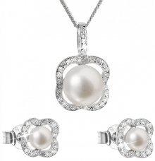 Evolution Group Luxusní stříbrná souprava s pravými perlami Pavona 29024.1