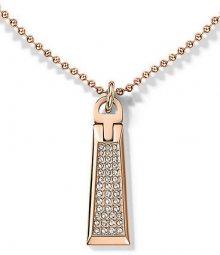 Tommy Hilfiger Bronzový náhrdelník se zipem s krystaly TH2700720