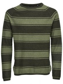 ONLY&SONS Pánský svetr Alexo 12 Striped Crew Neck Olive Drab S