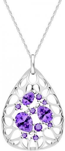 Preciosa Elegantní stříbrný náhrdelník Lyra Violet 5260 56 (řetízek, přívěsek)