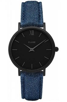 Cluse Minuit Full Black/Blue Denim CL30031