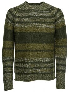 ONLY&SONS Pánský svetr Callen 3 Mel Striped Knit Reg Forest Night S
