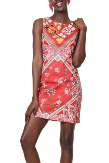 Desigual červené šaty Vest Lisa s barevnými motivy - 38