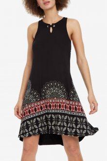 Desigual černé šaty Vest Valery s barevnými motivy - S