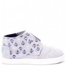 Toms šedé dětské boty Paseo Mid Grey Chambray Anchors - 23,5