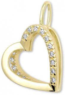 Brilio Zlatý přívěsek Srdce s krystaly 249 001 00493 - 1,10 g